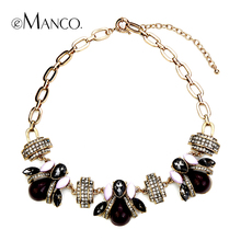 Crystal insect zinc alloy necklace eManco 2016 New style America And Europe pop exaggerated rhinestone necklaces women NL10453(China (Mainland))