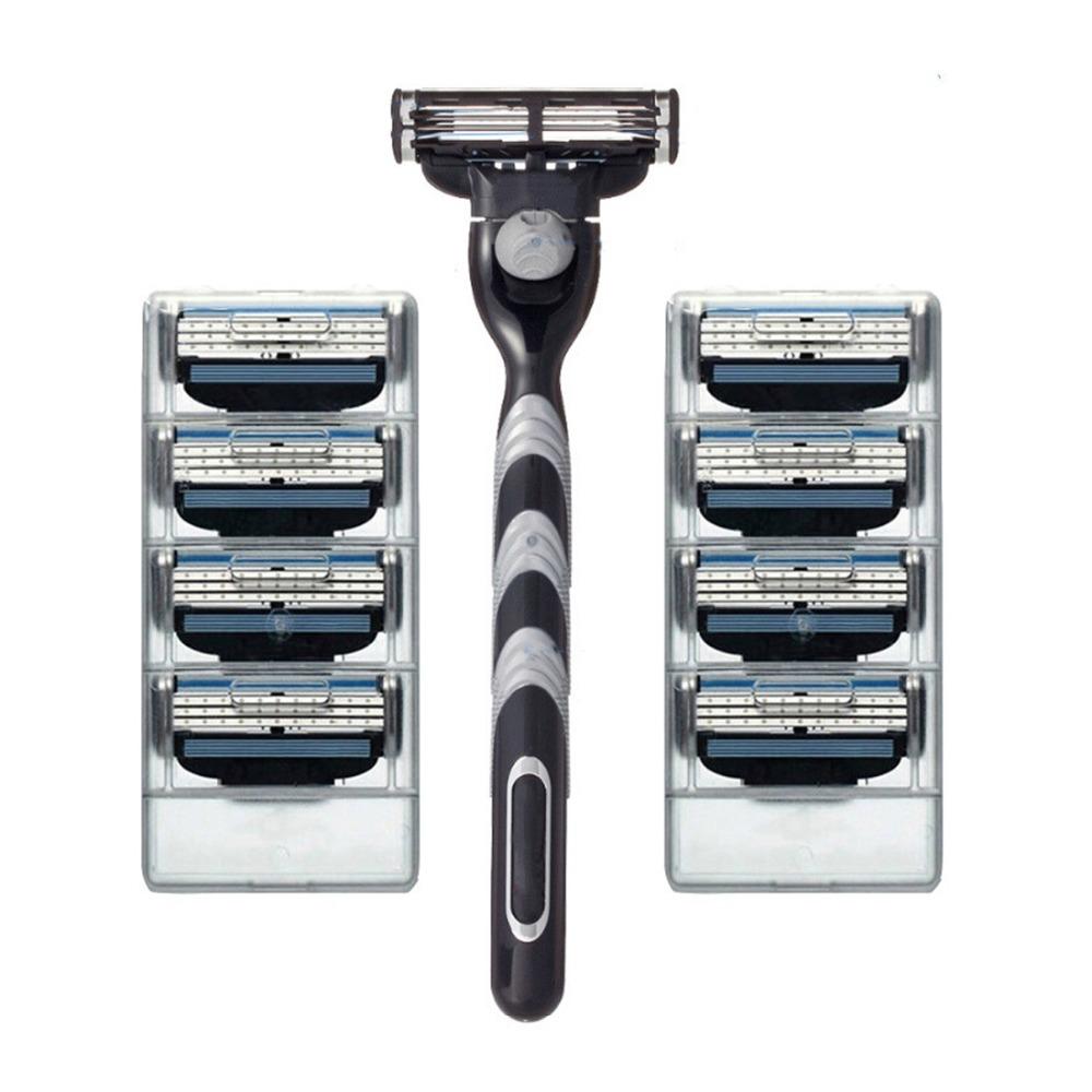 New 8PCS Razor Blades With Razor Holder Shaving Razor Bladed Set Shaver Shaving Razors Blades For Men