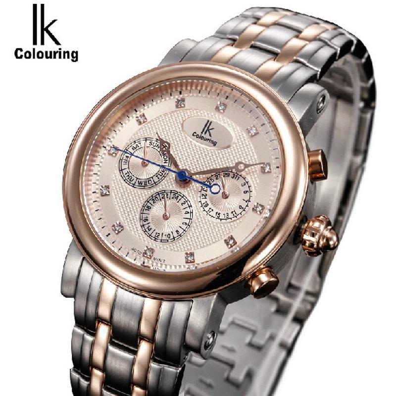 Для многофункциональный мужской часы случайные мужские часы ik полностью автоматические механические часы