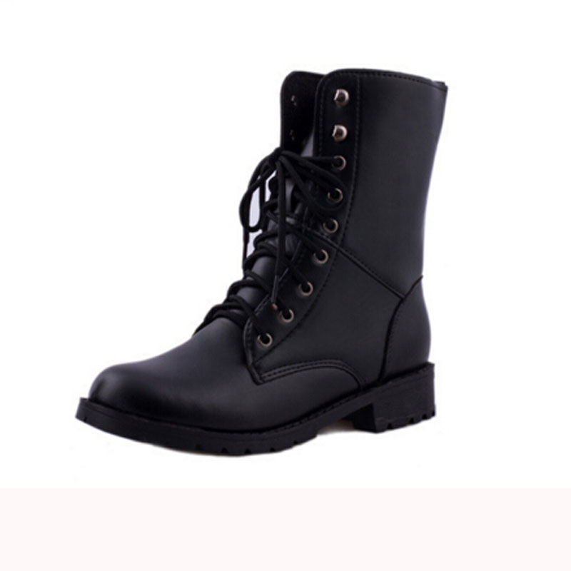 Short Black Combat Boots - Cr Boot