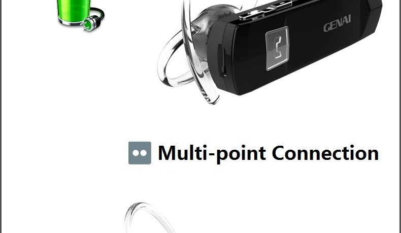 Top Quality Genai Blue1 Bluetooth 4.1 Headset Wireless Headphone with Mic Volume Adjustable for iPhone Xiaomi LG Android Phone