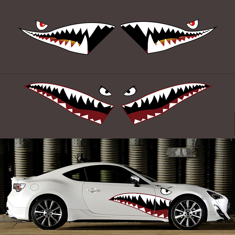 150cm Funny Car Sticker 3D Shark Mouth Car Styling Accessories Reflective Decal Waterproof Stickers Worldwide Free Shipping(China (Mainland))