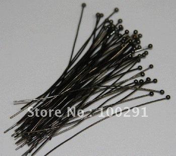 Free ship!!!2000piece/lot 45mm Black gun metal Jewelry bead making findings ball head pins headpins