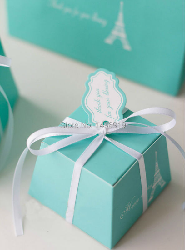 2015 Wholesale Blue Love Eiffel tower Wedding Favor Boxes Ribbon Card ...
