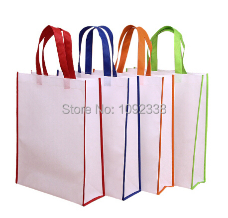 Wholesale 500pcs/lot reusable non woven shopping bags promotional bag 6 sizes,4 colors print your own logo Free Shipping By TNT(China (Mainland))