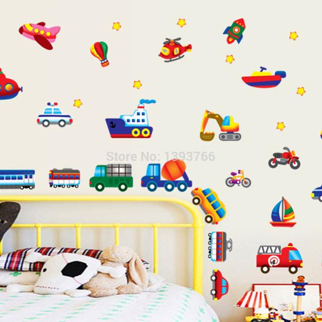 Малыш мультфильм автомобиль самолет стены стикеры для комнаты малыша стены наклейки для детской комнаты детские декоративные наклейки стены DIY обои
