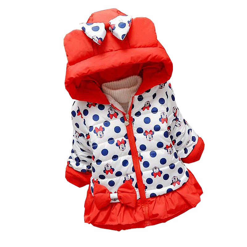 Девушки зимнее пальто новый ребенок милый горошек с капюшоном куртки толстый верхняя одежда для детей теплая одежда мультфильм одежда