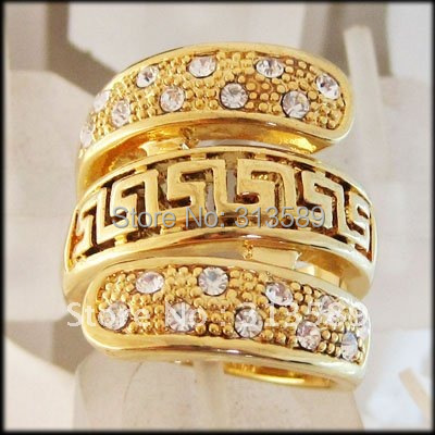 MIN ORDER 10$/FREE SHIPPING/ TOP QUALITY - YELLOW GOLD GP OVERLAY SOLID FILL BRASS GREEK KEY CZ RING  SZ 7 8  9 10/GREAT GIFT/
