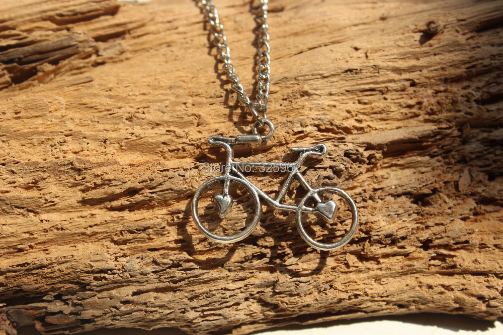 Antique silver bicycle necklace,bike necklace&bicycle pendant(China (Mainland))