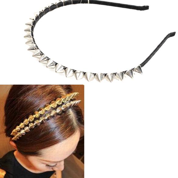 FABY Silver Metal Stud Rivet Spike Headband Hair Head Band Punk Girl(China (Mainland))