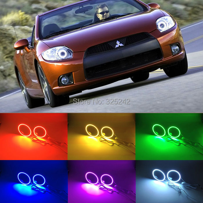 For Mitsubishi eclipse 2008-2012 with projector Excellent Angel Eyes kit Multi-Color Ultrabright 7 Colors RGB LED Angel Eyes(China (Mainland))
