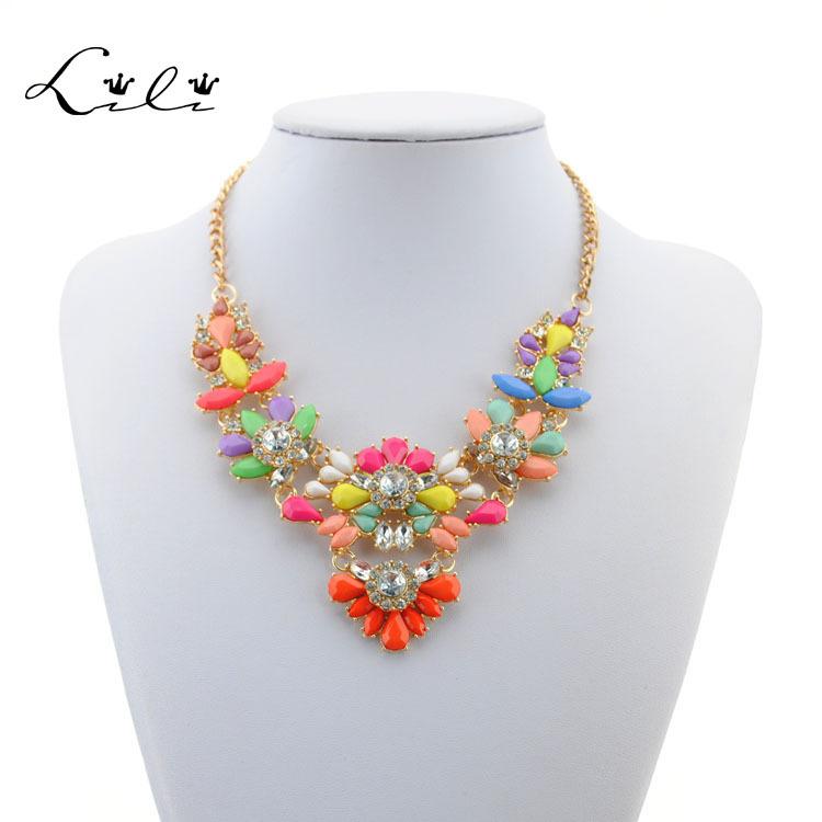 Fashion Brand Jewelry Necklace 2015 Shourouk Rainbow Colar Flower Stone Necklaces & Pendants For Women Statement Choker Luxury(China (Mainland))