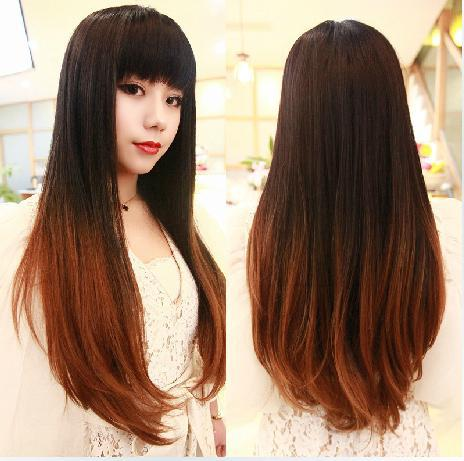 Fashion Perucas Long Two Tone Ombre Black Blonde Hair No