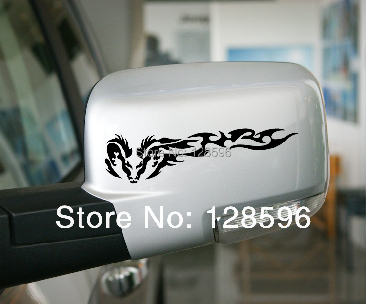 NEW! 2Pcs Tribal Dragon Wing Car Decal Stickers ideal for SUV OFF Road Rearview Mirror Window reflective(China (Mainland))