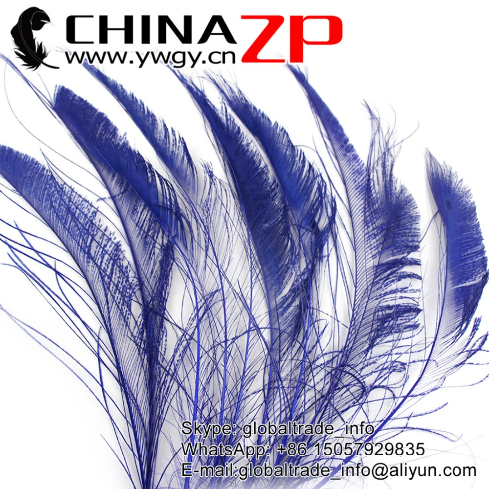 Made in CHINAZP Factory 100pcs/lot 30~40cm(12~16inch) Dyed Turquoise Blue Peacock Swords Cut Feathers(China (Mainland))