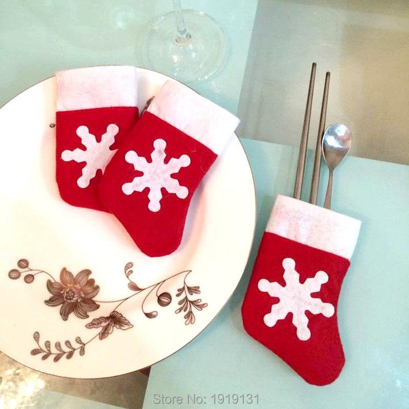 12Pcs Mini Christmas Stockings Decoration Supplies Decorations Festival Party Ornament(China (Mainland))