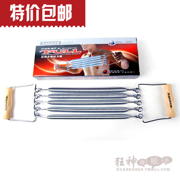 Wooden handle spring chestexpander elastic wire tension device