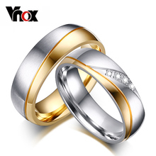 Buy Vnox Rings Women Man Wedding Ring Gold-color 316l Stainless Steel Promise Jewelry for $2.74 in AliExpress store