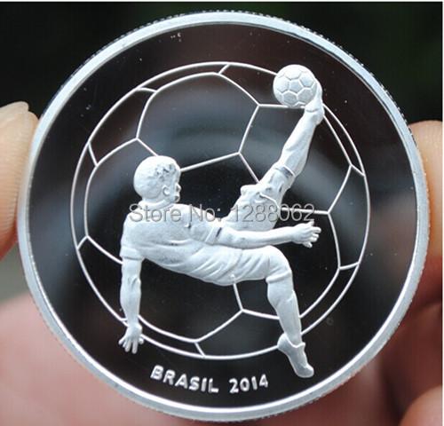 20pcs/lot, Brazil world cup football soccer silver plated Brazil souvenir coin(China (Mainland))