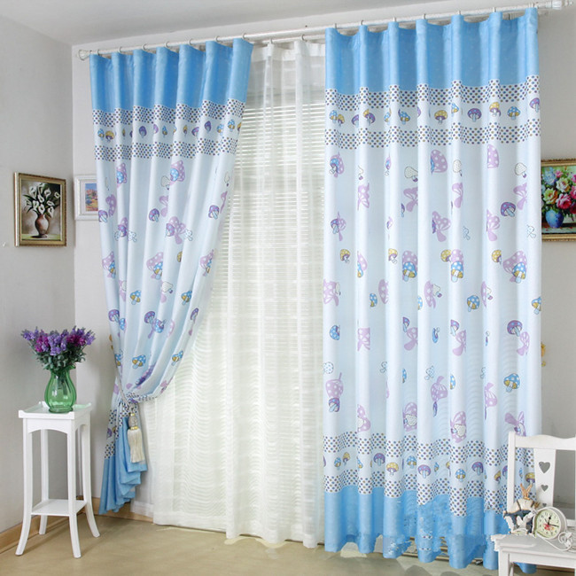 Brief Cartoon Sweet Finished Products Child Purple Blue Bedroom Window Curtains Screening