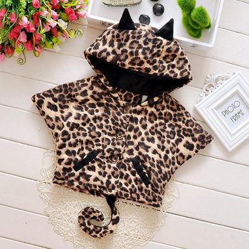 2015 new autumn winter cute animal print baby girls coats Plus velvet warm cartoon style infants cape suit 0~2 age boys shawl