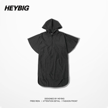 Heybig High Street Fashion Hiphop Brand Trench Short Sleeve Hoody Trench GD Gragon EXO OFF WHITE Street Well Gangsta Blvck Tops(China (Mainland))