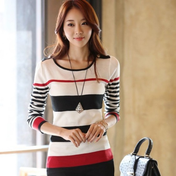 New 2015 Spring Autumn Korean Style Women Slim striped bottoming pullover sweater shirts tops(China (Mainland))