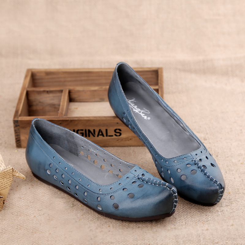 Womens shoes self-shade handmade genuine leather hole shoes breathable comfortable flat heel sandals<br><br>Aliexpress