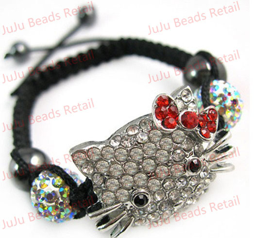 1 pc/lot Nice Kitty Cat Bracelet Czech Disco Rhinestone Friendship/Shamballa Bracelet Free Shipping! s1341(China (Mainland))