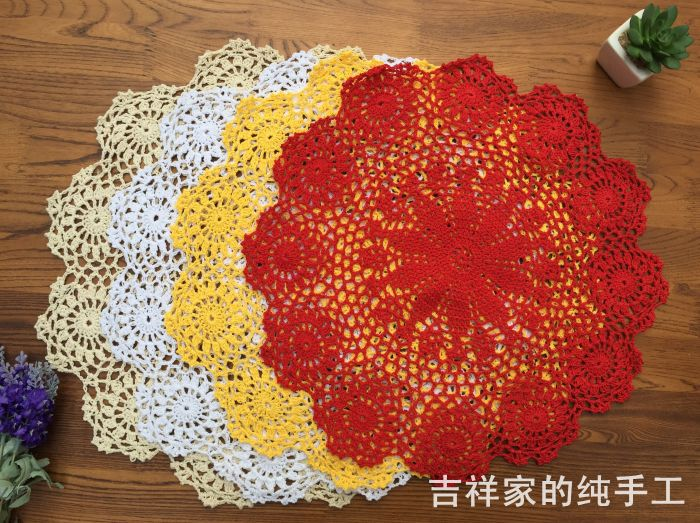 50cm round table cover with flower for wedding decor cotton crochet lace doilies as dinning table decor place mat coaster doily(China (Mainland))