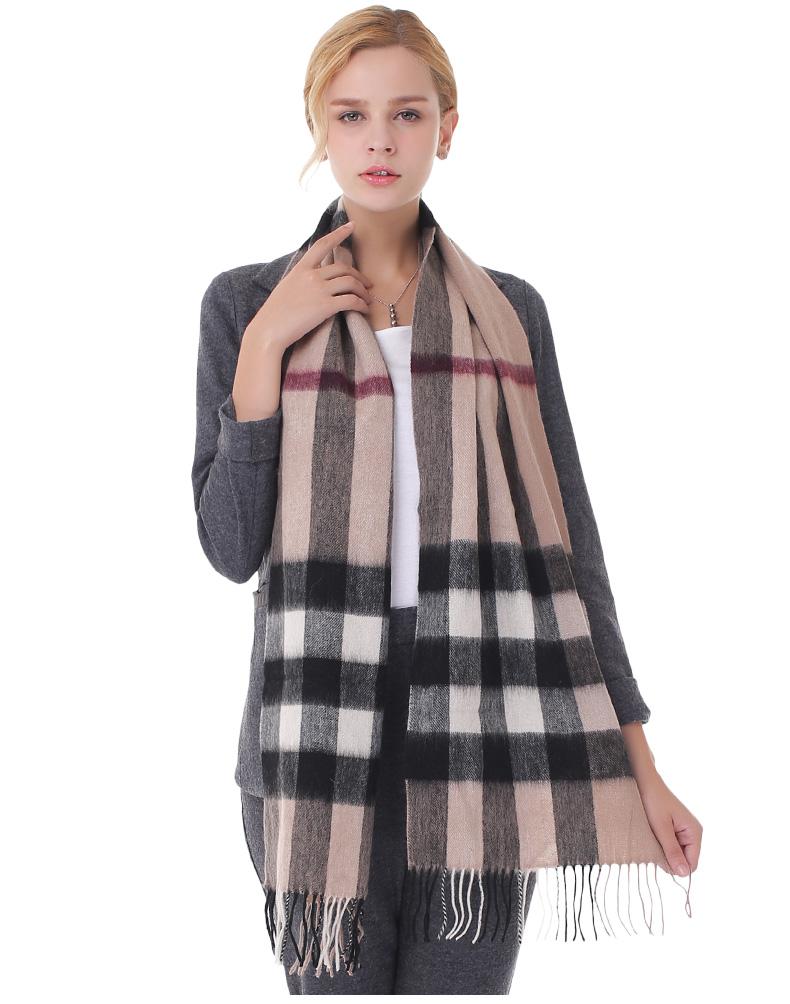 Winter Luxury Brand Plaid Cashmere Scarf Women Oversized Blanket Scarf Wrap Long Wool Scarf Women Pashmina Shawls  Scarves