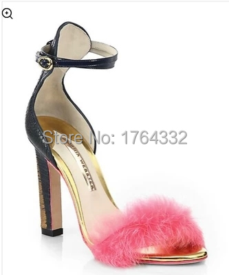 2015 new arrival Women eruo pink soft fur square High Heels brands Sandals buckle Fashion summer Shoes Genuine Leather Sandals