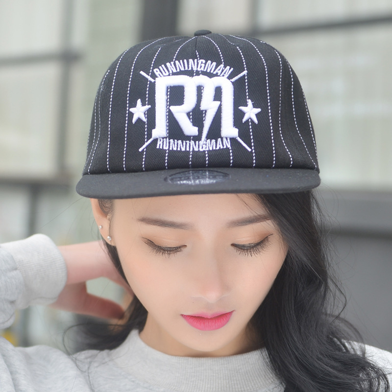 Korean Letter Hip Hop Hat Male Tide Baseball Hat Ma'am Hip Hop Hats Plain Edge Cap Student Lovers Sunshade Tide Cap(China (Mainland))