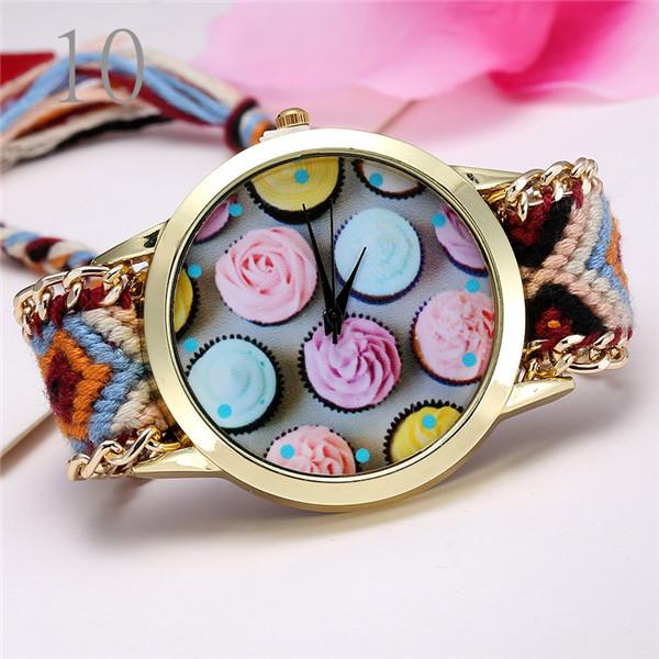 Reloj Geneva Brand Women Quartz Watch Rainbow Fabric Qualitative Strap Alloy Adjustable Length Flower Watches Relogio