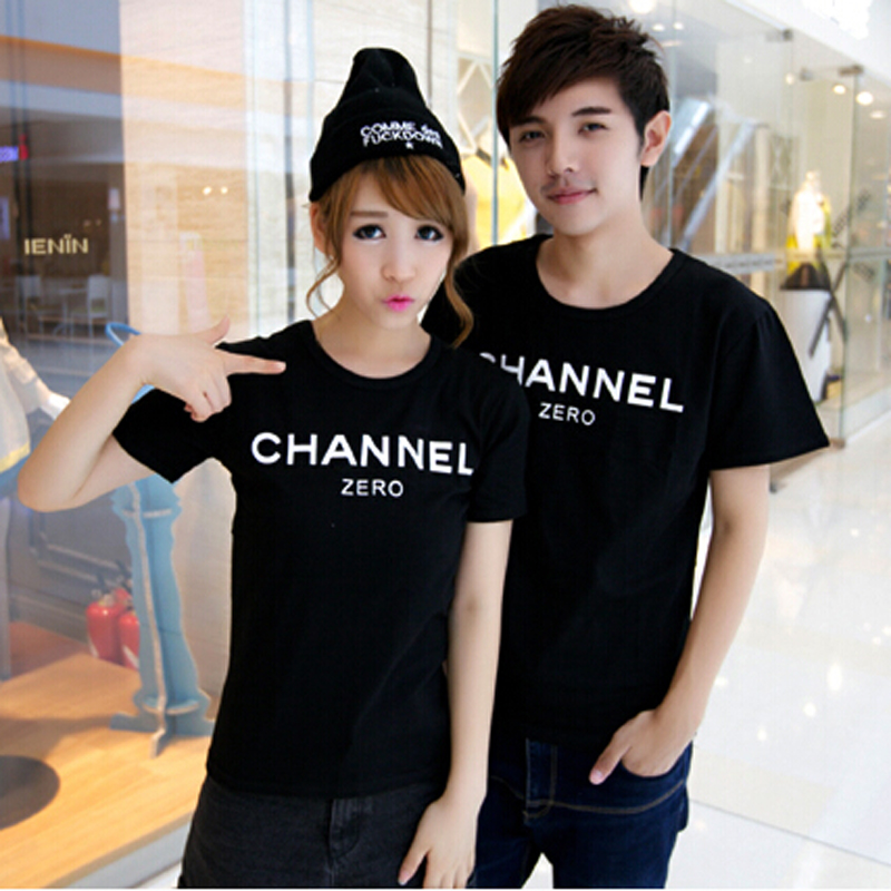 2016 Summer New Brand Women T-Shirt Couple Clothes Cotton Short Sleeve Letter Print Channel T Shirt Outfits - men left women right store