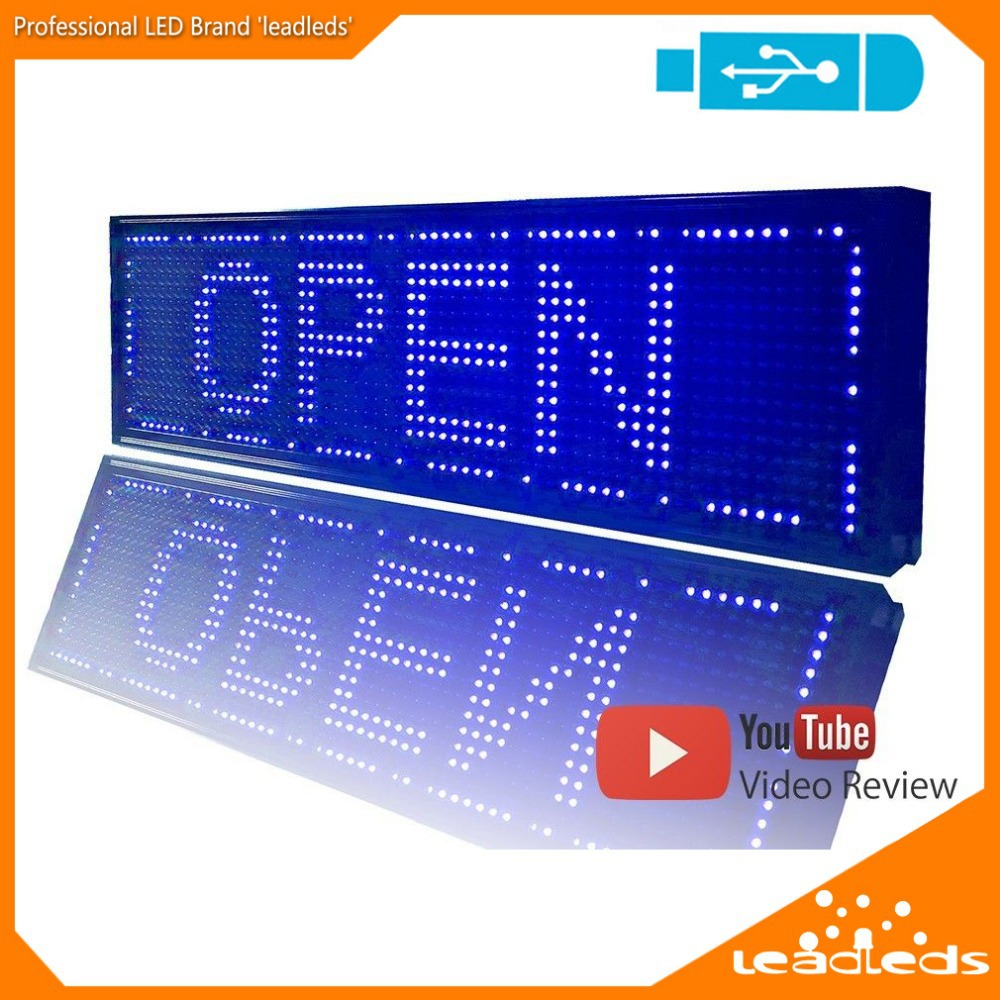 Blue USB Programmable Scrolling LED Sign Message Board Display 26.4 X 7.5 Inches Open Neon Sign(China (Mainland))