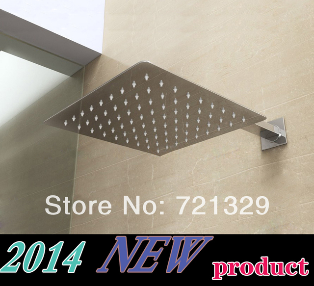 20*20cm square  stainless steel   ultra-thin shower head with arm 42CM(longest )  rain bathroom mixer modern