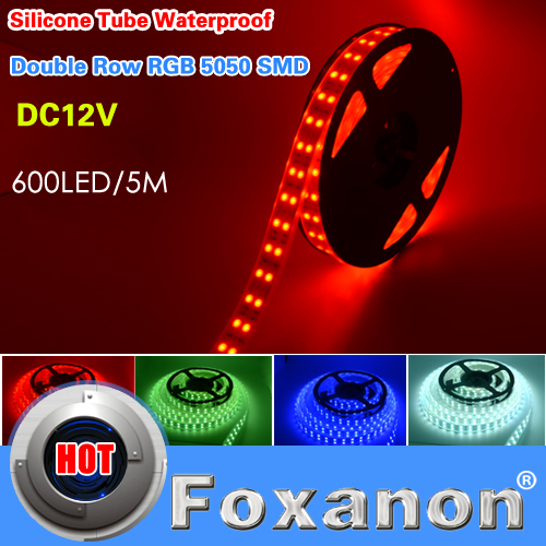 Foxanon Brand RGB 5050 Double Row Waterproof Led Strip Light 120Led/M 5M 600Leds DC 12V Flexible Lamps Lighting 5M/Roll(China (Mainland))