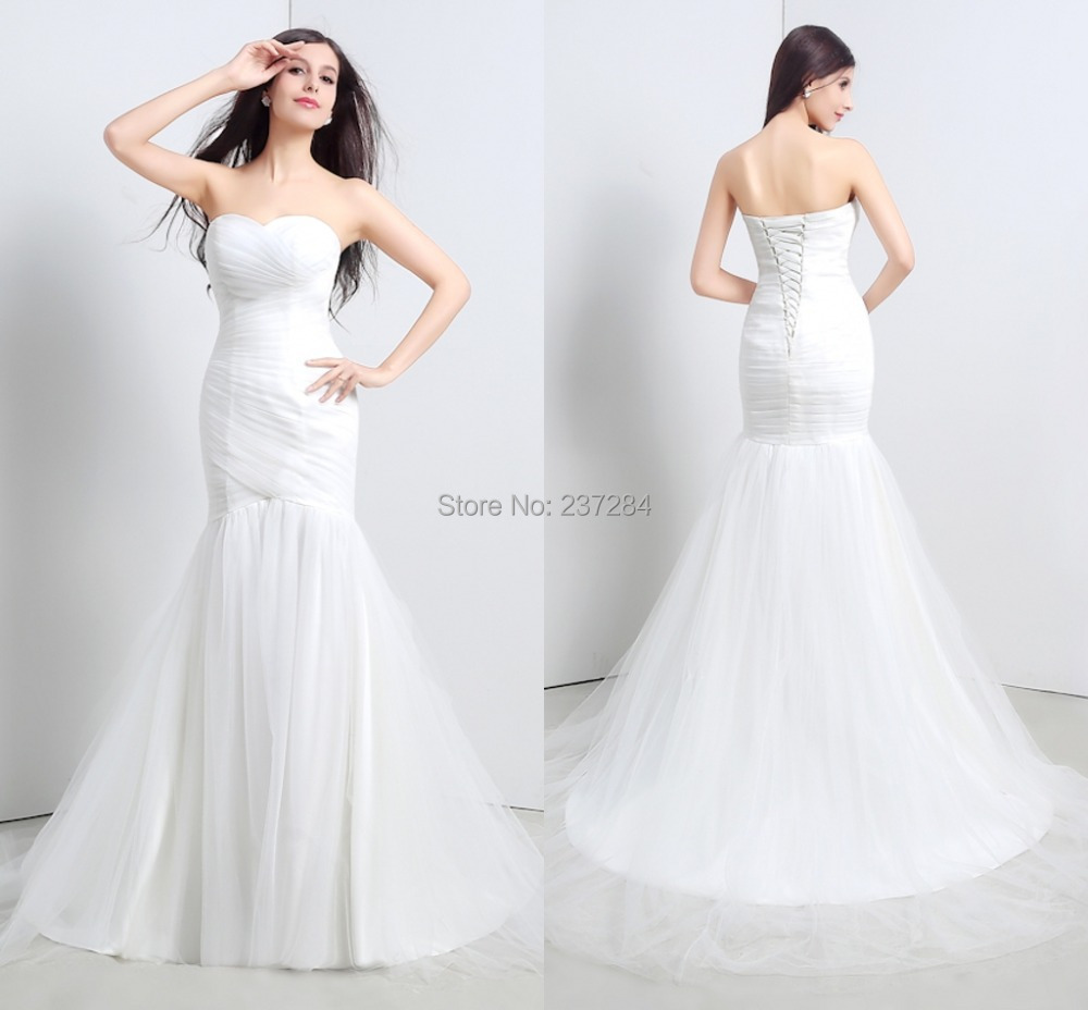corset mermaid wedding dresses 2015 elegant ruched lace up back bridal