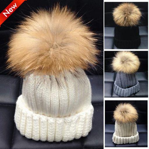 2015 New Fashion Winter Hat European pop women 15CM Real Fur Ball wool thick warm knitted Beanies man&women - VIVI KING store