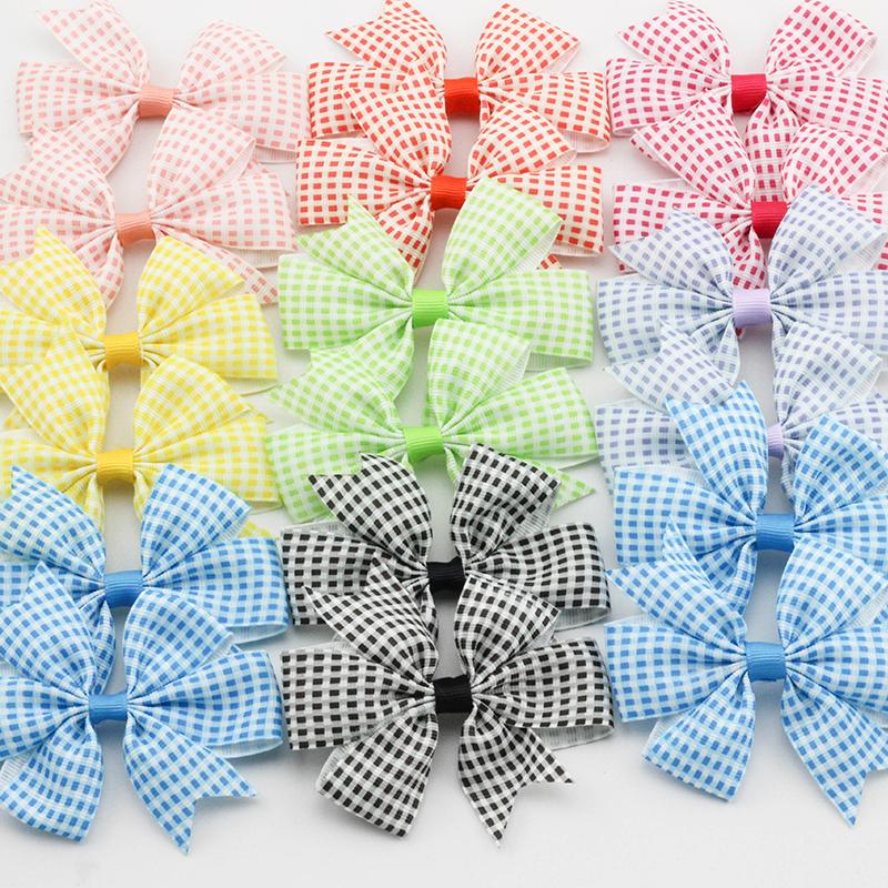 3 2 Plaid Ribbon Bows font b Tartan b font Hair accessories for Children Checkered pattern