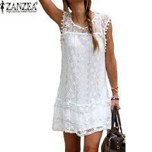 ZANZEA Vestidos 2017 Summer Elegant Women Casual Solid Short Sleeve Slim Lace Mini Dress Tops Ladies Sexy White Dress Plus Size(China (Mainland))