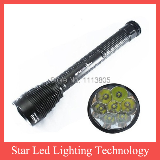 New Trustfire Flashlight 5 Mode 8000 Lumens 7 X CREE XM-L T6 LED by 18650 or 26650 Battery Waterproof High Power Torch J18-7T6(China (Mainland))