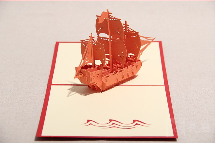 [ 3D Greeting Card ]Handmade 3D Pop Up Sailboat Greeting Card With Envelope Christmas/ Birthday Party Favors(More Colors)(China (Mainland))
