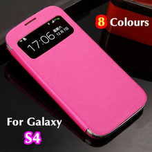 Slim Smart Touch View Sleep Wake Up Function Original Flip Leather Case Back Cover Holster For Samsung Galaxy S4 SIV I9500 I9505