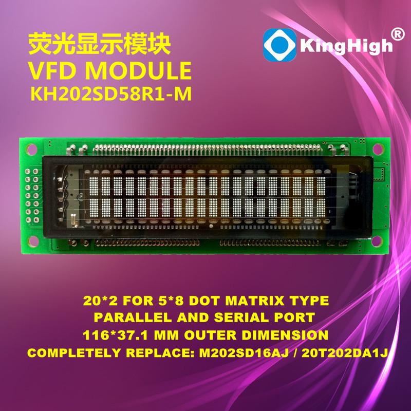 High Brightness FUTABA Replaced KH202SD58R1-M VFD Display 20*2 Dot Matrix VFD Module(China (Mainland))