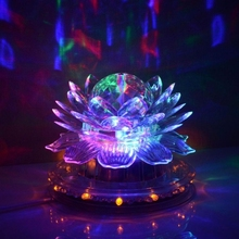 6W Voice Controlled Auto Rotating Lotus Party Stage Lamp 48 + 3 LED RGB Four Color Light Transparent free shipping(China (Mainland))