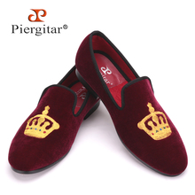 Embroidered Gold Crown Design Men Velvet Shoes Fashion Men Smoking Slippers male wedding and party loafers US4-17 Free shipping(China (Mainland))