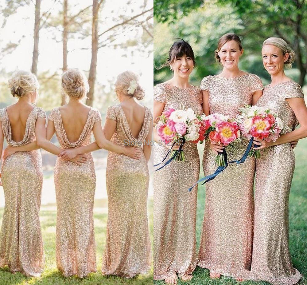Champagne gold long bridesmaid dresses sequined short for Gold bridesmaid dresses wedding