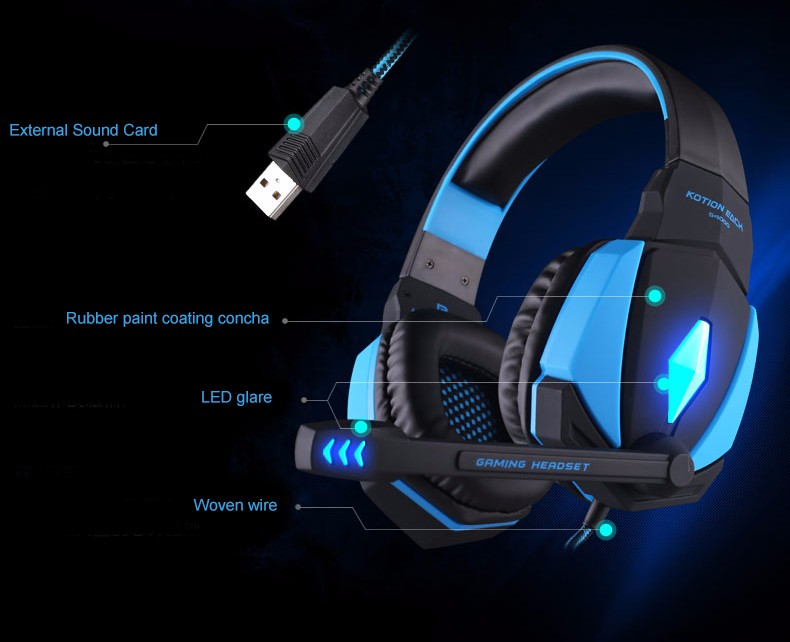 EACH G4000 USB Gaming Headphone Game Headphones Earphone Headset Auriculare with Mic Volume Control LED Light for PC Gamer